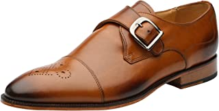 Mens Genuine Leather Perforated Cap Toe Single Monk strap Dress Shoes