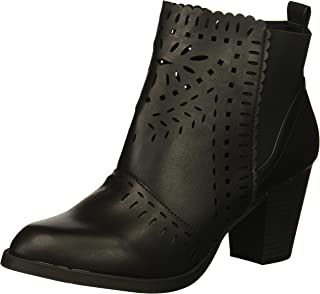 Rampage Women's Echer Perforated Block Heel Ankle Bootie Boot, Black Nubuck, 8.5 M US