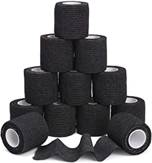 """TOBWOLF 12PCS Self Adherent Bandage Cohesive Tape Roll, 2""""x5yd / 5cmx4.5m First Aid Bandages, Stretch Athletic Vet Wrap for Sports Wrist Ankle Sprain Swelling - Black"""