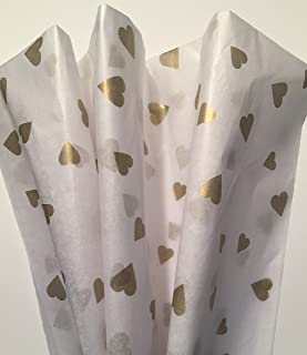 Printed Tissue Paper for Gift Wrapping with Design (GOLD HEARTS), 20 Large Sheets (20x30)