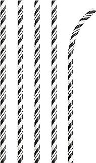 مصاصات ورقية قابلة للثني صديقة للبيئة قابلة للتحويل مبتكرة 24 قطعة، اسود / ابيض