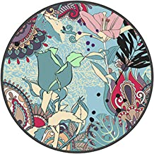 Vintage Round Rug, Traditional Round Carpet with Floral Pattern Style Design Living Room Rug Soft Short Pile Mat Non Slip,...
