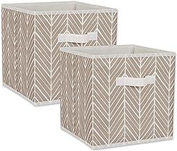 DII Non Woven Storage Collection Polyester Herringbone Bin, Small Set, 11x11x11 Cube, Stone, 2 Piece