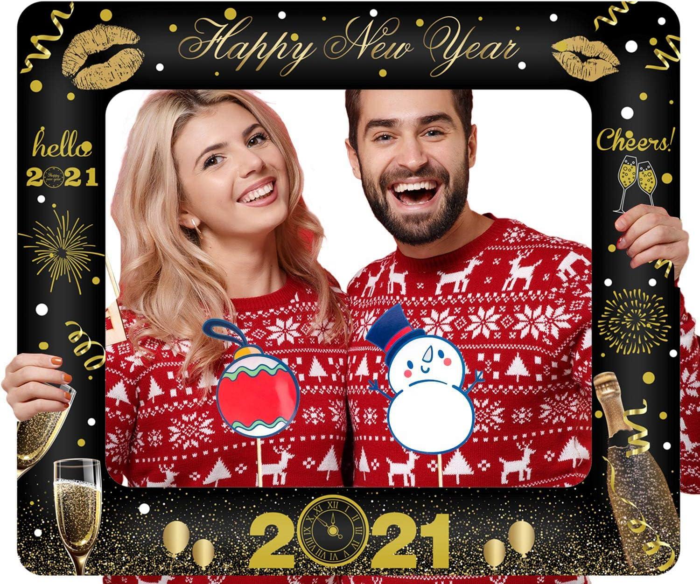 FLOFIA Weihnachten Aufblasbarer Fotorahmen Selfie Bilderrahmen Party Foto Booth Rahmen Erforderliche Photo Booth Requisiten f/ür Hochzeit Geburtstag Rot