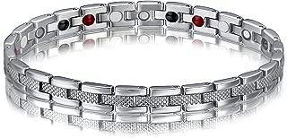 Pulsera magnética de acero inoxidable SSC-177, de plata pulida mate, brazalete imantado (2000+ gauss), joya antialergénica (acero quirúrgico 316L), ideal como regalo