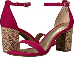 Raspberry Faux Suede/Basketweave Heel