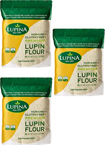 Keto Friendly, GF, alta proteína, harina de LUPIN rica en fibra de 16 oz. con 7 recetas de bonificación (paquete de 3)