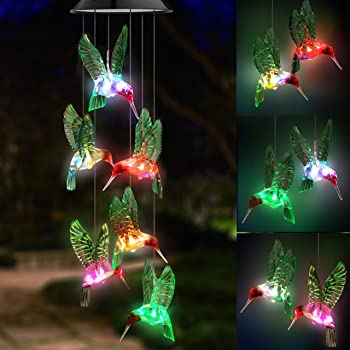 Topspeeder LED Solar Hummingbird Wind Chime, Changing Color Waterproof Six Hummingbird Wind Chimes for Home Party Night Garden Decoration (Green Hummingbird Birds)