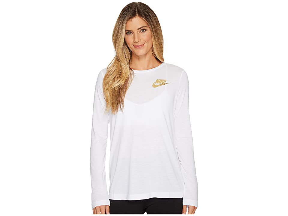 Nike Sportswear Essential Metallic Long Sleeve Top (White) Women
