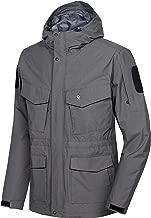 Little Donkey Andy Men's Waterproof Tactical Jacket Multi-Pocket Lightweight Windproof Outdoor Work Rain Coat