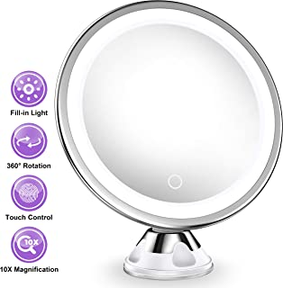 Upgraded 10x Magnifying Lighted Makeup Mirror with Touch Control LED Lights, 360 Degree Rotating Arm, and Powerful Locking Suction Cup, Portable Magnifying Mirror for Home, Bathroom Vanity, and Travel