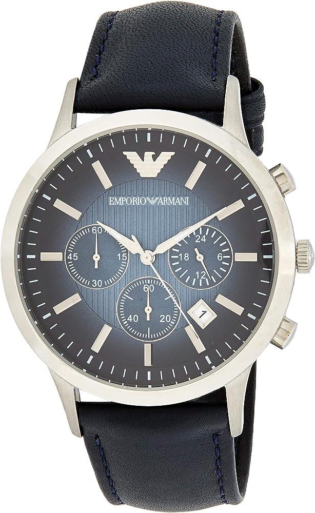Emporio armani orologio cronografo uomo con cinturino in pelle cassa in acciaio inossidabile AR2473