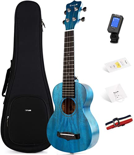 "Soprano Ukulele Enya 21"" Blue Solid Mahogany Top Ukulele Beginner Kit with Online Lesson, Case, Tuner, Strap, Strings..."