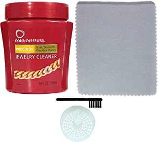 CONNOISSEURS Jewelry Cleaner for Diamond, Platinum & Precious Stones with Bonus Ultra Soft Polishing Cloth, Dip Tray and Brush