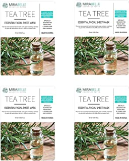 MIRABELLE COSMETICS KOREA Fairness Facial Mask TEA TREE PACK OF 4 MADE IN KOREA SUITABLE FOR ALL SKIN TYPE