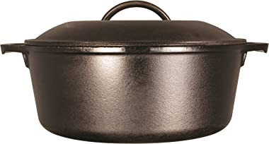Lodge Pre-Seasoned Dutch Oven With Loop Handles and Cast Iron Cover, 7 Quart, Black