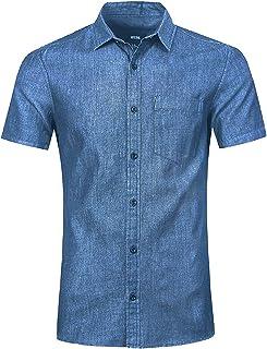 6e930486f52 NUTEXROL Camisa de Hombre Camisa Vaquera para Verano Camisa de Estilo  Retro, Camiseta Casual de