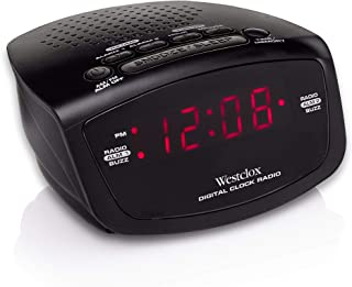Westclox 80209 Red LED Display Dual Alarm Clock Radio with Easy Set Radio Tuning, Black, 4.8 x 4 x 2 inches
