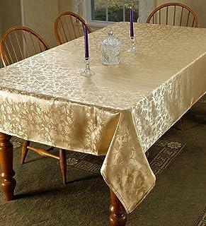 "Violet Linen European Floral Design Oblong/Rectangle Tablecloth, 60"" x 84"", Gold"
