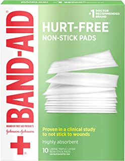 Band-Aid Brand Sterile Hurt-Free Non-Stick Pads, Individually-Wrapped, Large, 3 in x 4 in, 10 ct, 3 Pack