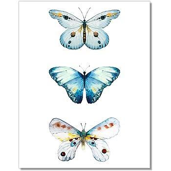 Butterfly Watercolor Art Print - 3 Teal Butterflies Wall Decor - 11x14 – Unframed