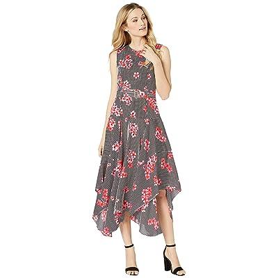 Calvin Klein Belted Handkerchief Dress (Watermelon Combo) Women