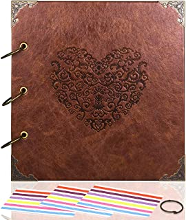 CenterZ Vintage Photo Album DIY Scrapbook - 10x10 inch 50 Pages Double Sided, PU Leather Cover Three-Ring Binder Picture Booth Albums with 6 Colors 306pcs Self Adhesive Photos Corners for Memory Keep