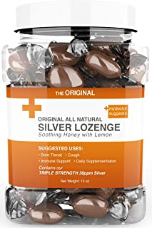 Original All Natural Silver Lozenges - Soothing Honey with Lemon: The Perfect Cough Drop for Cough, Throat & Mouth Health or Even Daily Supplementation & Immune Support, Contains 30ppm Silver