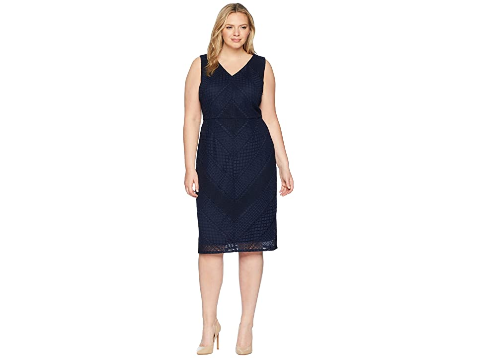 Adrianna Papell Plus Size Vintage Stripe Lace Sheath (Navy/Black) Women