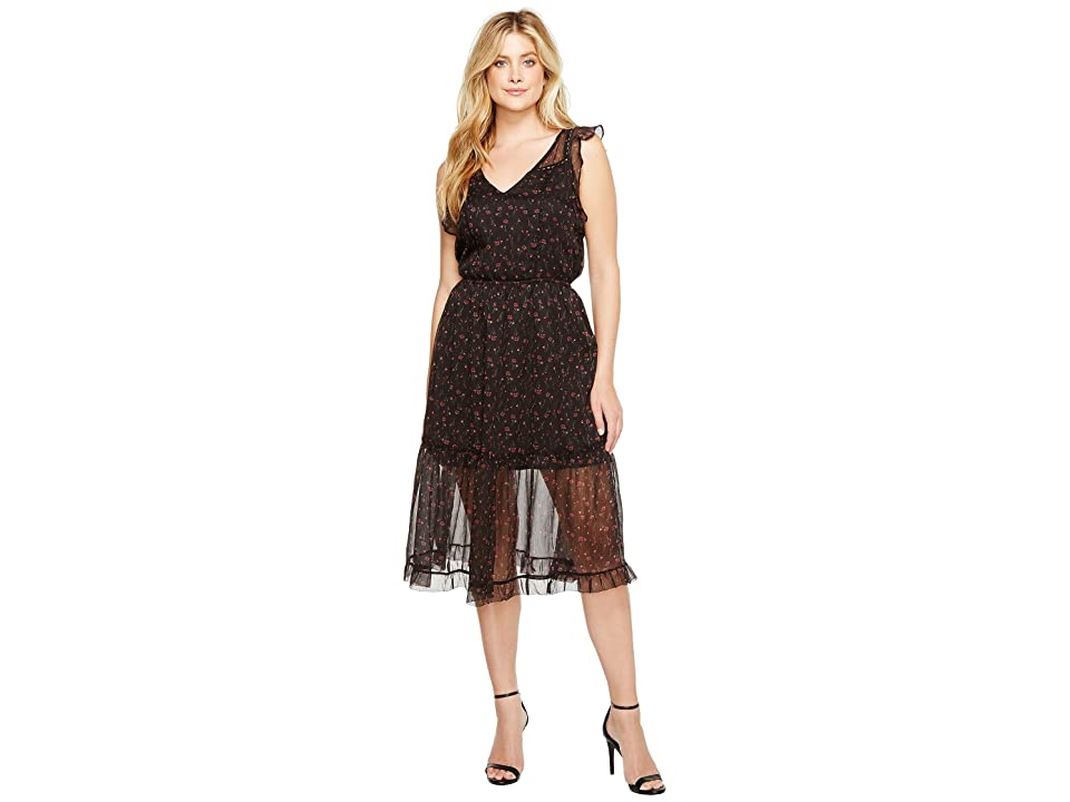 BB Dakota Cal Floral Midi Dress (Black) Women