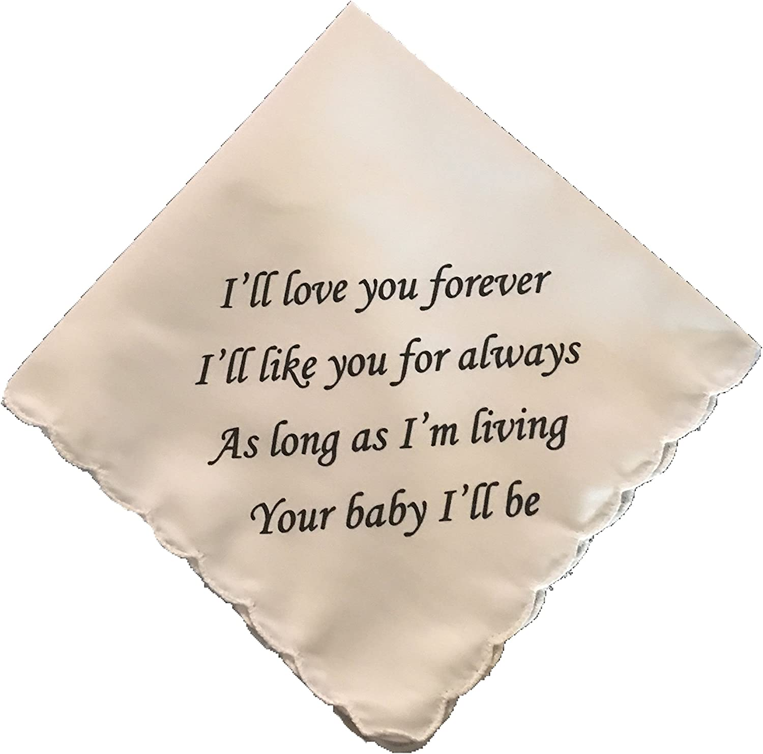 Wedding Tokens I'll Love Your Forever Wedding Poem Handkerchief- Mother of The Bride- Mother of The Groom