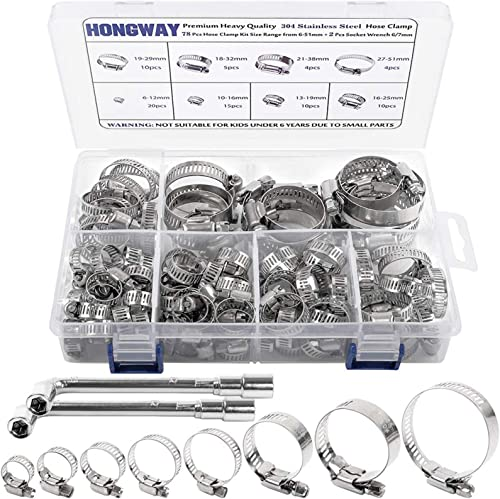 new arrival Hose Clamp, HongWay 78 Pack Stainless 2021 Steel outlet online sale Assortment Adjustable Range 1/4-2in(6-51mm), 304 Stainless Steel Hose Clamp with 2pcs Socket Wrench, for Plumbing, Automotive and Mechanical Application sale