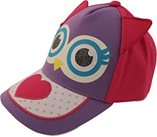 ABG Accessories Toddler Girls Cotton Baseball Cap with Assorted Animal Critter Design, Age 2-