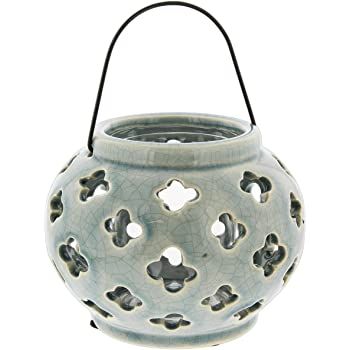 "Lucky Winner Round Ceramic Planter/Candle Lantern with Flower Cutout Design, 5.5"" (Grey)"