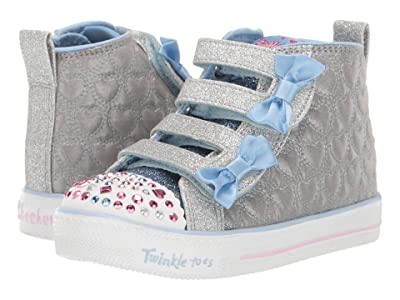 SKECHERS KIDS Shuffle Lite Quilted Beauties 20271N (Toddler/Little Kid) (Silver/Light Blue) Girl