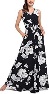 1d7e4362747 Comila Women s Summer V Neck Floral Maxi Dress Casual Long Dresses with  Pockets