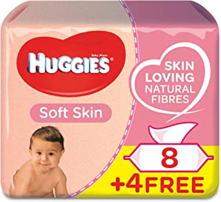 HUGGIES BABY WIPES SOFT SKIN,  2+1 Free,  56s x 12 (672 Wipes)