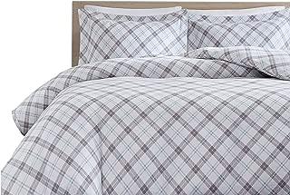 Comfort Spaces 100% Cotton Flannel 3 Piece Duvet Cover Pillow Shams, Warm Breathable Bedding Set, King, Grey/Aqua