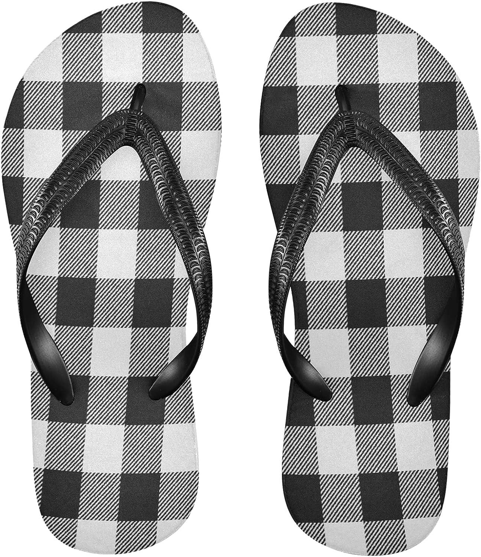 Nander White Black Buffalo Plaid Women's Sandal Flip Flops Soft Comfortable Beach Slippers Unisex Adult Durable Flip Flops Shower Shoes