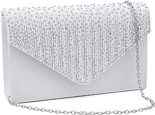 Milisente Abendtasche für Damen, Glitzer, Strass, Hochzeit, Abend-Geldbörse, Kristall-Umschlag, Crossbody Schulter-Clutch