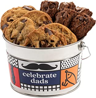 David's Cookies Assorted Cookies Bucket Sampler – 1.3Lbs Assorted Father's Day Cookies with Chocolate Chip Brownies and Ch...