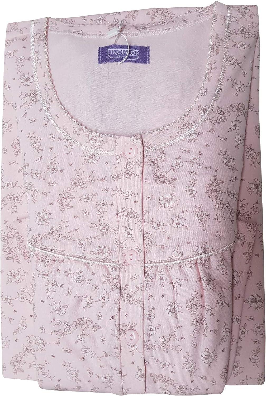 ALAMBRA Store Camicia da Notte Donna LINCLALOR Caldo Cotone Autunno Inverno Modello Serafino Anche Taglie Forti CALIBRATE