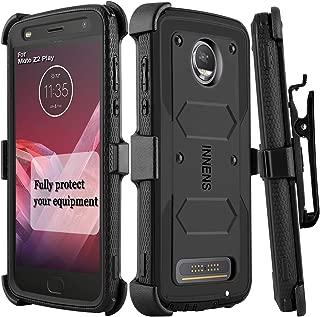 Innens Compatible Moto Z2 Force/Z Force 2017 / Moto Z2 Play Case, Hybrid Heavy Duty Anti-Scratch Shockproof Protective Case with Kickstand Belt Clip Compatible Moto Z2 Play (Black)