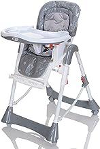 Silla alta para niños con posición reclinable; altura ajustable; fácil de lavar; plegable con 5 cinturones punk; Gris