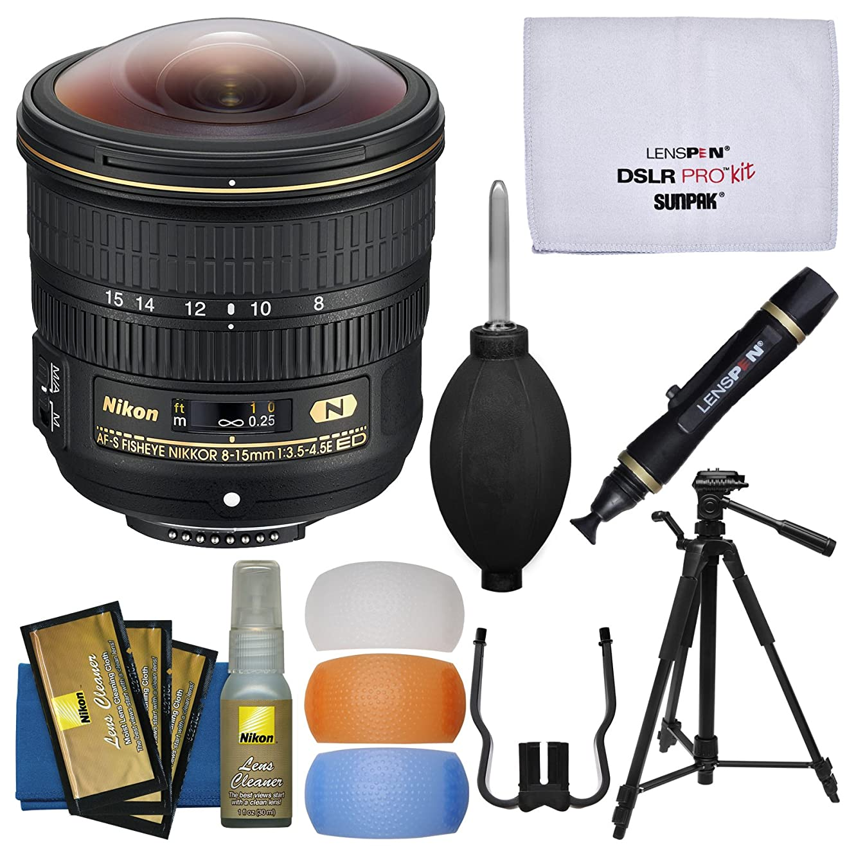 Nikon 8-15mm f/3.5-4.5E ED AF-S Fisheye-Nikkor Lens with 3 UV/CPL/ND8 Filters + Tripod + Flash Filters + Kit