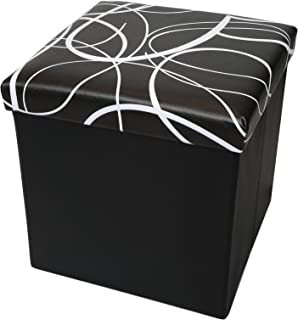 Otto & Ben Folding Toy Box Chest with Memory Foam Seat, Faux Leather Small Ottomans Bench Foot Rest Stool, Swirl Black