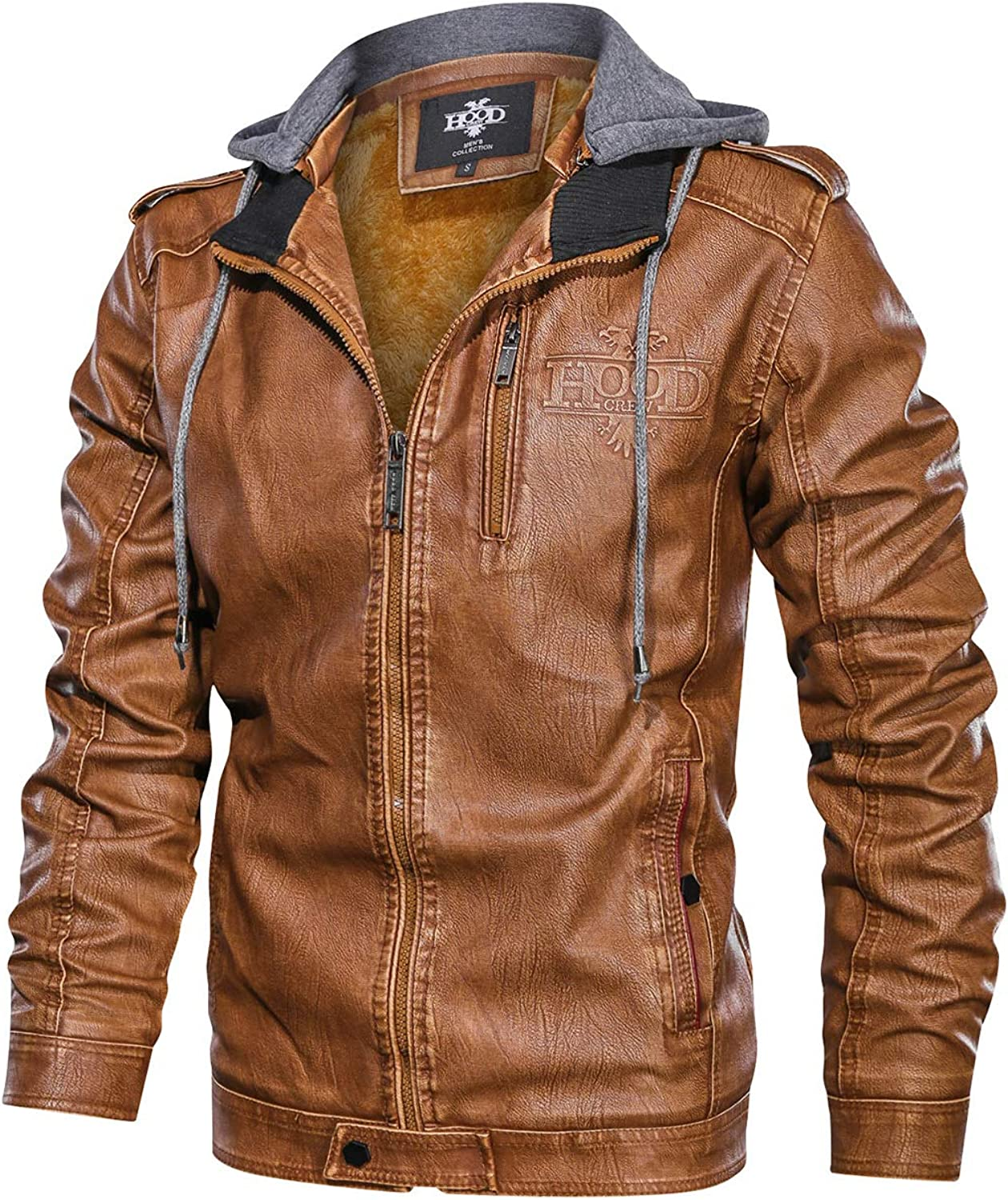 HOOD CREW Men's Black Brown Coffee Stand Collar Warm PU Faux Leather Zip-Up Motorcycle Jacket with a Removable Hood