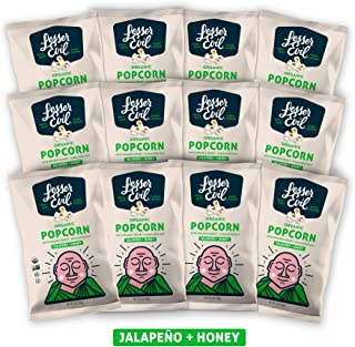 LesserEvil Organic Popcorn, Jalapeno + Honey, 5 Ounce, 12 Count