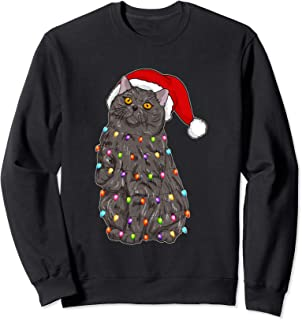 Santa British Shorthair Cat with Christmas lights Gifts Sweatshirt