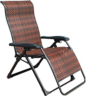 GOLDSUN Rattan Zero Gravity Reclining Chaise Lounger Adjustable Folding Lounge Chair for Garden Patio Beach Porch Swimming Pool,Outdoor and Indoor Use(Rectangle Leg)